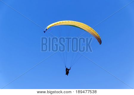 Paragliding in Israel one person in the sky