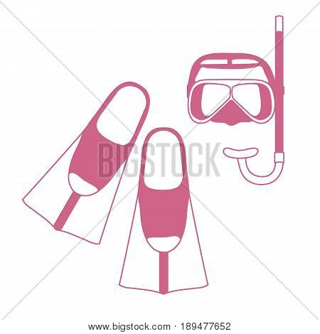 Stylized Icon Of A Colored Mask, Tube And Flippers For A Scuba Diving. Sports And Recreation Theme.