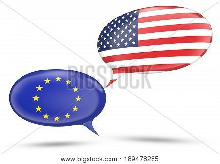European Union and United States relations concept with speech bubbles, 3D rendering