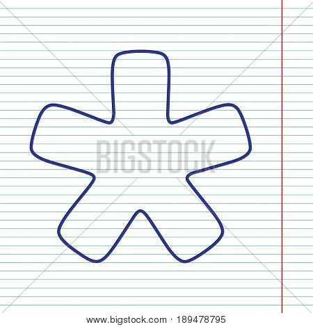 Asterisk star sign. Vector. Navy line icon on notebook paper as background with red line for field.