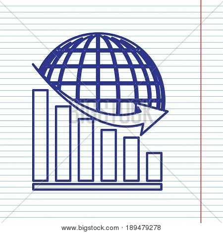 Declining graph with earth. Vector. Navy line icon on notebook paper as background with red line for field.