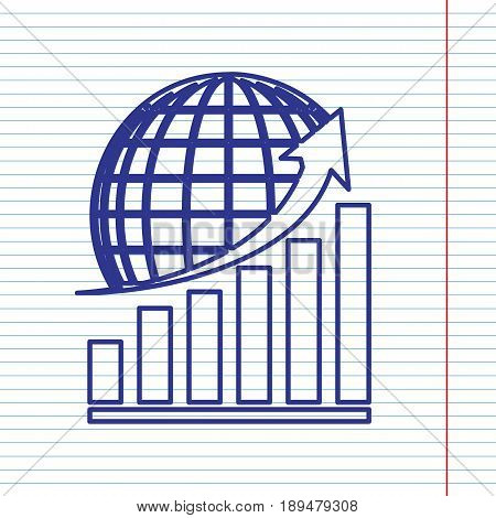 Growing graph with earth. Vector. Navy line icon on notebook paper as background with red line for field.