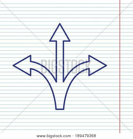 Three-way direction arrow sign. Vector. Navy line icon on notebook paper as background with red line for field.