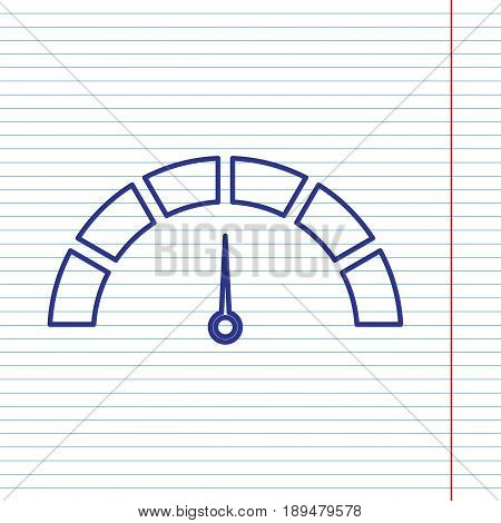 Speedometer sign illustration. Vector. Navy line icon on notebook paper as background with red line for field.