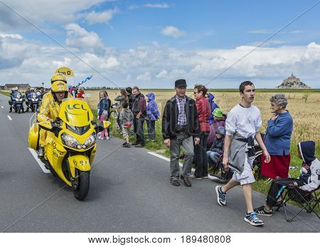 Ardevon France - July 2 2016: The Yellow bike at the start of the Tour de France at Km 0 close to Mont Saint Michel Monastery in ArdevonFrance on July 22016.