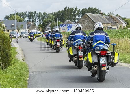 Ardevon France - July 2 2016: Row of bikes of French Gendarmerie driving to the start of the Tour de France near Mont Saint Michel Monastery in Ardevon France on July 2 2016.