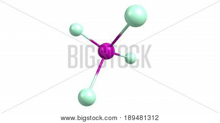 Silicon tetrachloride or tetrachlorosilane is the inorganic compound with the formula SiCl4. It is a colourless volatile liquid that fumes in air. 3d illustration