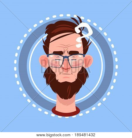 Profile Icon Male Emotion Avatar, Man Cartoon Portrait Pondering Face Flat Vector Illustration