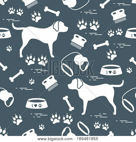 Cute seamless pattern with dog silhouette bowl traces bone brush collar leash. Design for poster or print.