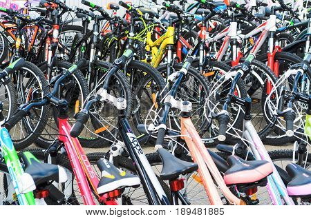 Belarus Minsk - April 12 2017: The market of bicycles. Many cheap bicycles. Modern mountain bikes in sports shop