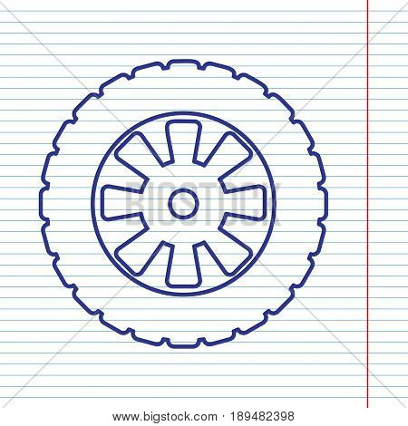 Road tire sign. Vector. Navy line icon on notebook paper as background with red line for field.