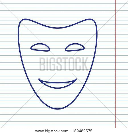 Comedy theatrical masks. Vector. Navy line icon on notebook paper as background with red line for field.