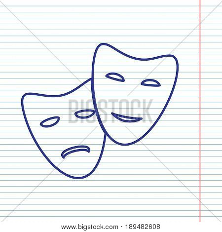 Theater icon with happy and sad masks. Vector. Navy line icon on notebook paper as background with red line for field.