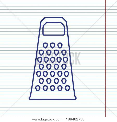 Cheese grater sign. Vector. Navy line icon on notebook paper as background with red line for field.