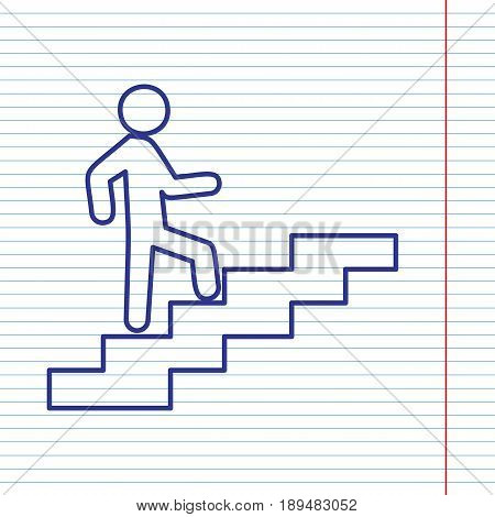 Man on Stairs going up. Vector. Navy line icon on notebook paper as background with red line for field.