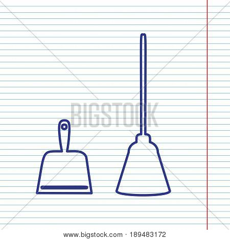 Dustpan vector sign. Scoop for cleaning garbage housework dustpan equipment. Vector. Navy line icon on notebook paper as background with red line for field.