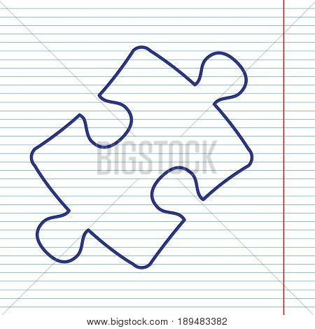 Puzzle piece sign. Vector. Navy line icon on notebook paper as background with red line for field.