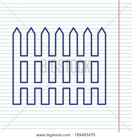 Fence simple sign. Vector. Navy line icon on notebook paper as background with red line for field.