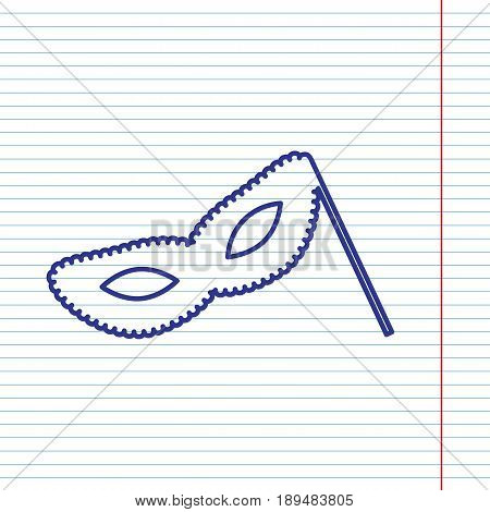 Traditional Venetian Carnival Decorative mask sign. Vector. Navy line icon on notebook paper as background with red line for field.