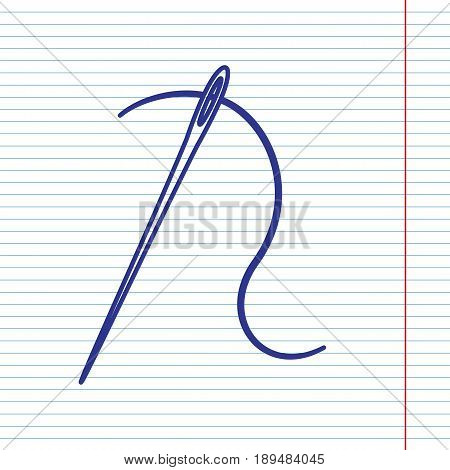 Needle with thread. Sewing needle, needle for sewing. Vector. Navy line icon on notebook paper as background with red line for field.