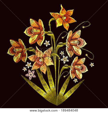 Narcissus embroidery. Beautiful daffodils yellow narcissus embroidery on black background. Template for clothes textiles t-shirt design