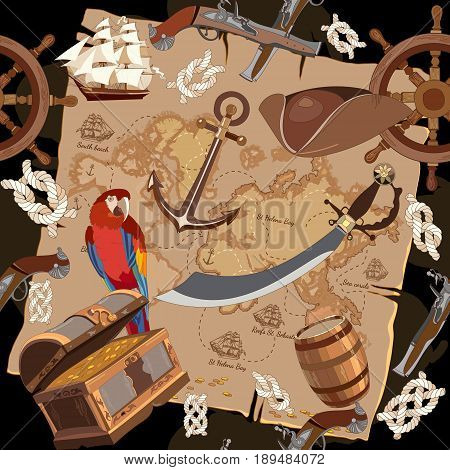 Old pirate treasure map seamless pattern. Treasure chest parrot steering wheel skull rum saber pirate hat and ship vector. Adventure stories seamless background