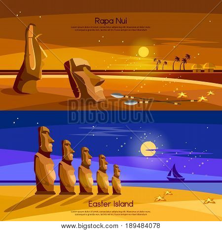 Easter Island banners Moai statues of Easter island landscape Polynesia. Stone idols. Tourism and vacation tropical background