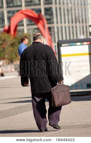 Fat businessman go to work