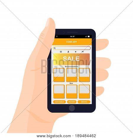 Vector mobile app interface design. Hand holding smartphone. e-commerce mobile website concept.