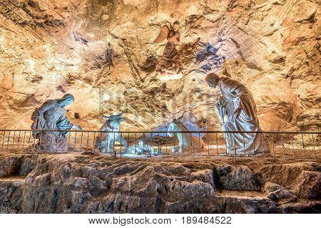 Nativity scene in Zipaquira Salt Cathedral in Bogota Colombia
