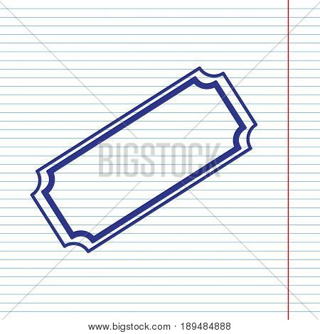 Ticket sign illustration. Vector. Navy line icon on notebook paper as background with red line for field.