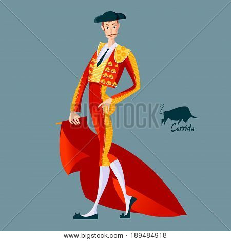 Matador with cape. Corrida de toros. Bullfighting. Vector illustration