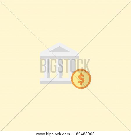 Flat Account Element. Vector Illustration Of Flat Bank Isolated On Clean Background. Can Be Used As Account, Bank And Dollar Symbols.