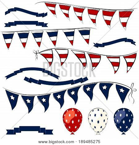 4th of July decorations elements. Independence Day pennant banner balloons and ribbons set