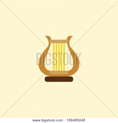 Flat Harp Element. Vector Illustration Of Flat Lyre Isolated On Clean Background. Can Be Used As Harp, Lyre And Instrument Symbols.