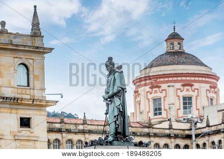 Statue at Bolivar square in Bogota Colombia