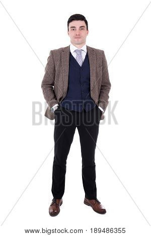 Full Length Portrait Of Young Businessman Posing Isolated On White