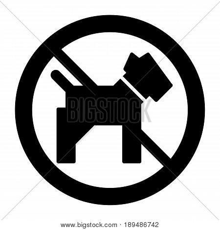 No dogs simple vector icon. Black and white illustration of dog and forbidden sign. Solid linear pet icon. eps 10