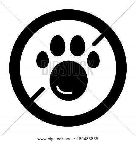 No pets simple vector icon. Black and white illustration of pet paw and forbidden sign. Solid linear pet icon. eps 10