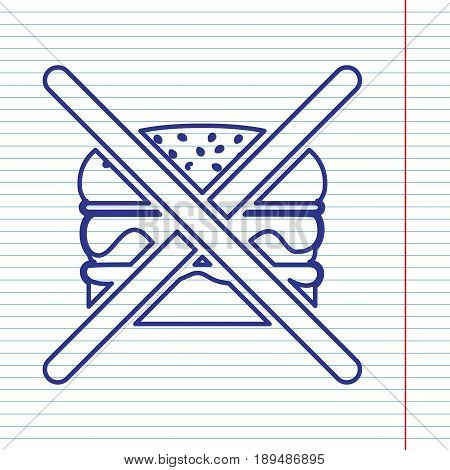 No burger sign. Vector. Navy line icon on notebook paper as background with red line for field.