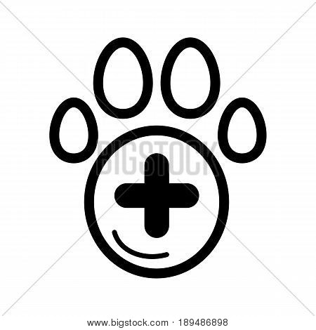 The pet paw and plus sign simple vector icon. Black and white illustration of veterinary hospital. Outline linear icon. eps 10