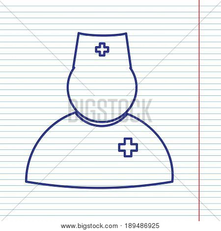 Doctor sign illustration. Vector. Navy line icon on notebook paper as background with red line for field.