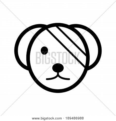 Sick cute dog simple vector icon. Black and white illustration of dog with Bandaged eye. Outline linear veterinary icon. eps 10