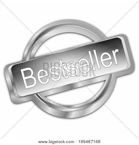 decorative silver Bestseller button - 3D illustration
