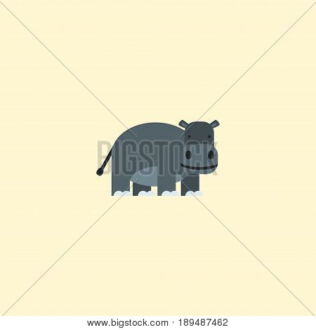 Flat Hippo Element. Vector Illustration Of Flat Hippopotamus Isolated On Clean Background. Can Be Used As Hippopotamus, Hippo And Behemoth Symbols.