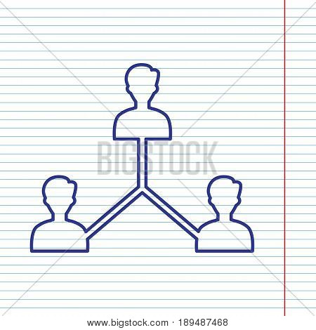 Social media marketing sign. Vector. Navy line icon on notebook paper as background with red line for field.