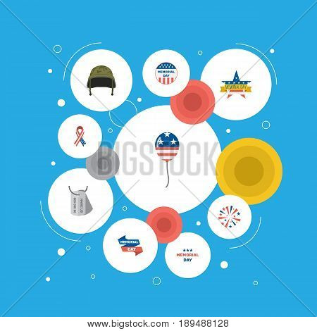 Flat Soldier Helmet, Memorial Day, Decoration And Other Vector Elements. Set Of Day Flat Symbols Also Includes Memorial, Usa, Decoration Objects.