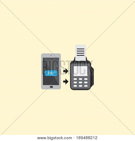 Flat Contactless Transaction Element. Vector Illustration Of Flat Remote Paying Isolated On Clean Background. Can Be Used As Online, Remote And Payment Symbols.