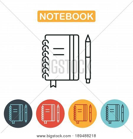 Notebook icon with pen. Vector Illustration of Spiral Notebook Icon. Education icon for web and graphic design. Line style logo. Vector illustration.