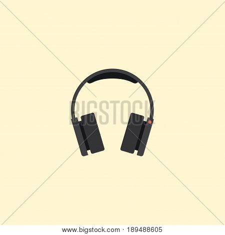 Flat Headphones Element. Vector Illustration Of Flat Earphones Isolated On Clean Background. Can Be Used As Headphone, Earphone And Earmuff Symbols.